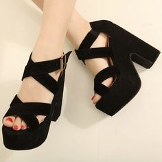 Cross Strap Black Suede Chunky Sandals