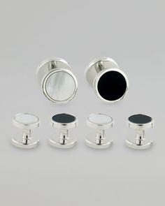 Reversible Cuff Links & Shirt Studs Set, Silver by David Donahue at Neiman Marcus.