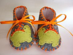 Funky baby boy booties with dinos Handmade by FiestaKidsBoutique, $23.00
