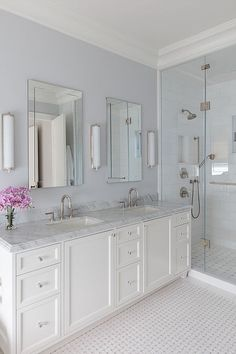 Double Bathroom Vanity Designs Ideas - Have you considered a double sink bathroom vanity? Below is ideal 10 awesome and also innovative double sink vanity designs ideas and images of shower rooms with double sinks. Serene Bathroom, White Master Bathroom, Timeless Bathroom, Double Sink Bathroom, Small Bathroom, Double Sinks, White Bathrooms, Lilac Bathroom, Master Bathroom Vanity