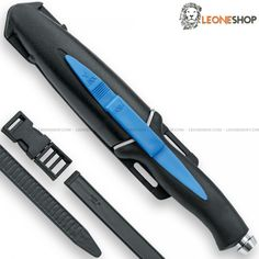 """MAC AQUATYS Diving Knife MC-AQT, Scuba divers cutlery and professional diving knives with serrated blade of W1.4116 stainless steel of high quality mirror polish finished - HRC 55/56 - Blade lenght 4.7"""" - Thickness 0.16"""" - Handle made of PP and TPE Black/Blue overmold, a plastic material with non-slip rubber - Overall lenght 9.4"""" - Equipped with ABS sheath with rubber straps for legs or arms - Design by Mac Cutlery Italy..."""