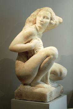 "Pierre Traverse Sculpture ""Femme Au Bain"" in White Onyx - Primavera Gallery Wood Sculpture, Sculptures, Antoine Bourdelle, French Sculptor, Ancient Greece, Les Oeuvres, Sculpting, Carving, Sculpture"