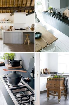 country minimalism. It could be really nice to put our butcher block on wheels....