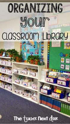How to organize your library. Books are in baskets by genres, white baskets are fiction and blue baskets are nonfiction. Lot of ideas here to help you get your classroom library neat and well-organized. Library Organization, Classroom Organisation, Classroom Setup, Classroom Design, Future Classroom, Classroom Management, Classroom Libraries, Class Management, Classroom Resources
