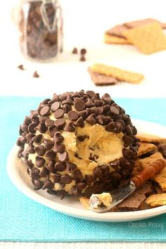 Chocolate Chip Cookie Dough Cheese Ball means eating chocolate chip cookies in spreadable form for parties. Serve with graham crackers and cookies.