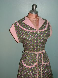 50s dress vintage 1950s PINK GRAY GREEN by capricornvintage, $123.00