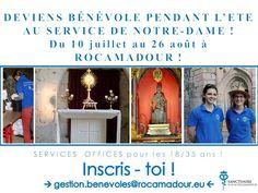 Dans 20 jours, c'est le lancement de la saison d'été pour les bénévoles du Sanctuaire Notre-Dame de Rocamadour ! Prêts à revêtir le polo bleu pour servir Notre-Dame ??? Inscrivez-vous vite sur gestion.benevoles@rocamadour.eu - nous avons besoin de vous...