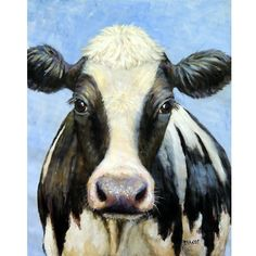 Holstein Cow Art Print by Dottie Dracos, Black Holstein with white blaze on blue, dairy cows, dairy cattle, farm art, cow paintings