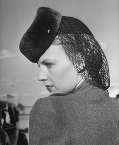 Model wearing sheared beaver hat featuring a wool snood.  Location:Dallas, TX, US  Date taken:October 1939  Photographer:Alfred Eisenstaedt // shaved beaver ::chuckles::