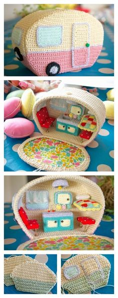 Crochet Amigurumi Ideas Crochet Amazing Mini Caravan Free Pattern - CROCHET GOALS RIGHT HERE - What an adorable Vintage Caravan with Kitchen Sink, Curtains and Cosy Bed. If you are inspired to make your own, here is Crochet Mini Caravan Free Pattern. Crochet Gratis, Cute Crochet, Crochet For Kids, Crochet Dolls, Crochet Baby, Crochet House, Crotchet, Yarn Crafts, Diy Crafts