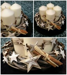 Diy Candle Holders, Diy Candles, Pillar Candles, Christmas Candles, Christmas Decorations, Advent Box, Centre Pieces, Christmas 2017, Craft Fairs
