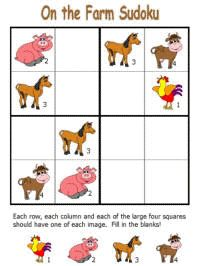 Free printable farm themed sudoku puzzles for preschool, kindergarten and elementary school kids. Farm Animal Crafts, Animal Crafts For Kids, Animals For Kids, Farm Animals, Sudoku Puzzles, Printable Puzzles, Animal Worksheets, Worksheets For Kids, Learning Games For Kids