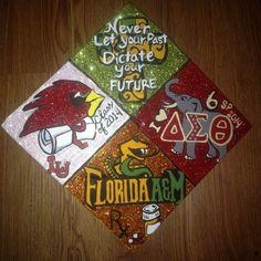 Past, Present, Future & Forever theme grad cap Delta Sigma Theta Graduation Cap Pictures, Graduation Cap Designs, Graduation Cap Decoration, Grad Pics, Grad Pictures, Graduation Stole, College Graduation, Graduation Caps, Graduation Ideas