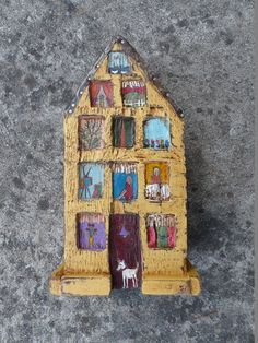 RESERVED FOR CHRISTY Colorful House Wooden Rustic by Popielnik