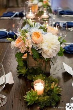 Wood Box Centerpiece with Peach, Green, and Blue Flowers | Organic Floral Centerpiece | Succulents | Juliet Roses | Wood Farm Table | White Peony | Designed by Engaging Events