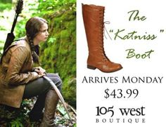 """Katniss"" Boots are now available.  $43.99.  ~  105 West Boutique, Abbeville SC.  (864) 366-WEST.  Look for us on Facebook!"