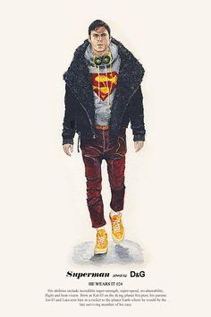 Superman wears D&G Fashion hero and villain illustration series by John Woo Band Of Outsiders, Tattoo Flash, John Woo, Hipster, High Fashion, Mens Fashion, Icon Fashion, Arte Pop, Fashion Sketches