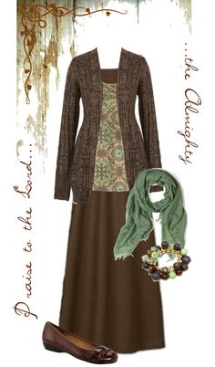 Lovely! - brown maxi skirt, brown flats, green scarf, brown long hem open front cardigan, green and brown pattern cami, dangle bracelet