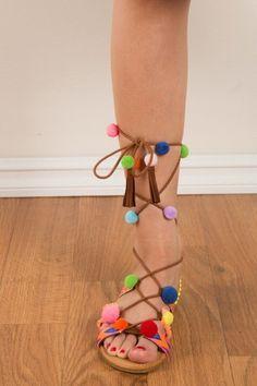Pom Pom Sandals - Longhorn Fashions