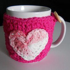 SOLD Pink Crochet Coffee Cup Cozy Mug Cozy Tea Cozy by CrochetByMonet, $12.00