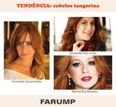 As atrizes Fernanda Paes Leme e Fernanda Vasconcellos  adotaram os cabelos ruivos tangerina este ano, lembrando as madeixas naturais de Marina Ruy Barbosa. Fiquem atentas meninas! Essa cor promete ser tendência para os fios nesse verão.