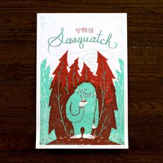 So you've seen a Sasquatch before…but have you seen a Sasquatch lately? The hermetic, hirsute hider in this Sasquatch Print by Familytree has clearly cleaned up his act: No more jumping out of bushes and scaring the normals. Part of the Monster Friends Poster Series, this screenprint reveals that Sassy has turned over a new leaf—and even found a friendly snail beneath it. Get a room, guys.