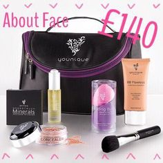 About Face Bundle & save!  Get your base layers in place with this complexion-enhancing collection of foundation faves.   This collection includes: 1 Uplift Eye Serum 1 BB Flawless Complexion Enhancer 1 Blending Buds 1 Moodstruck Minerals Concealer 1 Moodstruck Minerals Pressed Blusher 1 Blusher Brush 1 Younique makeup bag