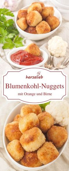 Blumenkohl-Nuggets Rezept – Snack, den Kinder und Erwachsene lieben Fingerfood Recipe – Cauliflower Nuggets are just delicious. Even for children, this dish is something. Ideal for a party – party food. Pastas Recipes, Lunch Recipes, Appetizer Recipes, Vegetarian Recipes, Cooking Recipes, Healthy Recipes, Appetizers, Fingerfood Recipes, Snacks Sains
