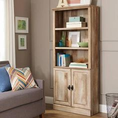 Better Homes And Gardens Crossbill Bookcase With Doors Weathered 129 00 Can Paint