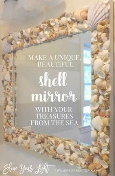 How To Make A Shell Mirror Tutorial With Your Treasures From The Sea DIY Shell Spiegel Tutorial mit Muscheln im. Seashell Frame, Seashell Art, Seashell Crafts, Beach Crafts, Beach Mirror, Seashell Projects, Driftwood Projects, Driftwood Art, Mirror Crafts