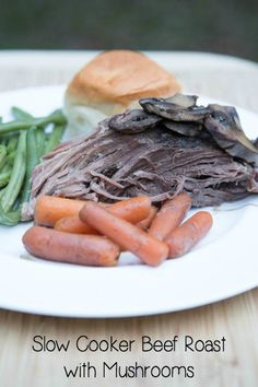 Slow Cooker Beef Roast with Mushrooms & Carrots ~ part of our Costco #6 Slow Cooker Freezer Packs meal plan | 5DollarDinners.com