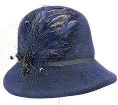 Navy Blue Women's Hat Hand Blocked Fur Felt by MakowskyMillinery,