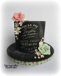 Chalkboard Anniversary Cake - Cake by Spongecakes Suzebakes