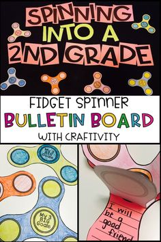 Looking for an EASY and cute back to school bulletin board?  Here it is!  Have students think about their 3 goals and write them on their writing piece of the fidget spinner craftivity.  The have students design their fidget spinner to represent their personality.   Students can introduce themselves to their classmates by sharing their fidget spinner.  When it's all done, print out the letters and put it on a bulletin board for a cute display!