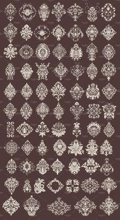 72 Hand-drawn Damask Elements #elements#ornamental#floral#Elegant