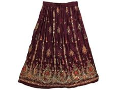 "Bollywood Skirts Maroon Lehenga Floral Printed Beaded Boho Skirt for Women 36"" Mogul Interior, http://www.amazon.com/dp/B0085SGEPY/ref=cm_sw_r_pi_dp_lAiYpb06DA2X2"
