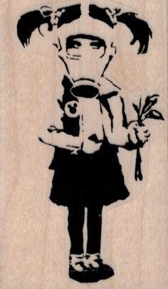 Banksy Gas Mask Flower Girl rubber stamps cling stamp unmounted or wood mounted 19434 craft scrapb Banksy Graffiti, Arte Banksy, Banksy Artwork, Street Art Banksy, Bansky, Gas Mask Drawing, Art Sketches, Art Drawings, Gas Mask Girl
