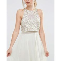 ASOS All Over Embellished Crop Top Maxi Dress (4975 RSD) ❤ liked on Polyvore featuring dresses, tall maxi dresses, chiffon dresses, zipper dress, maxi dresses and racerback dress