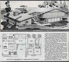 California design mid-century Eichler style house plan from Hiawatha T Estes catalog of house plans Modern Floor Plans, Modern House Plans, House Floor Plans, Mid Century Ranch, Mid Century House, Vintage Architecture, Architecture Plan, Mcm House, Vintage House Plans