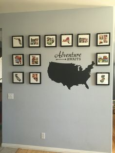 Travel wall - photo collages in the shape of each state we have traveled to. Printed on www.minted.com . Our goal is to get a picture up for every state in the US