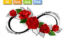 Buy Infinity Symbol with Red Roses by on GraphicRiver. infinity symbol with red roses and black stalks on a white background. Unendlichkeitssymbol Tattoos, Vine Tattoos, Rosen Tattoos, Foot Tattoos, Flower Tattoos, Body Art Tattoos, Tribal Rose Tattoos, Tatoos, Infinity Symbol Art