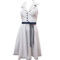 Vestido Frente Única Branco de Poá Azul Marinho com Gola de Camisa - LANÇAMENTO! - luiza pannunzio