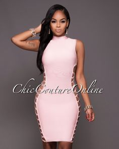 Chic Couture Online - Vixen Soft Pink Lace-Up Sides Luxe Bandage Dress.(http://www.chiccoutureonline.com/vixen-soft-pink-lace-up-sides-luxe-bandage-dress/)