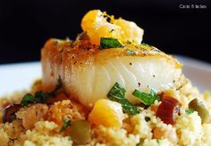 Pan Roasted Sea Bass and Couscous with Clementines, Chickpeas, Olives and Dates — Circle B Kitchen