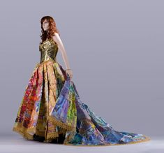 A gown made entirely from Little Golden Books.