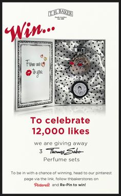 For a chance to win this gorgeous Thomas Sabo perfume set all you need to do is follow us on Pinterest and re-pin to win. Good luck! Interesting Information, Thomas Sabo, Beautiful Things, Wednesday, Competition, Mad, Projects To Try, Sparkle, Perfume