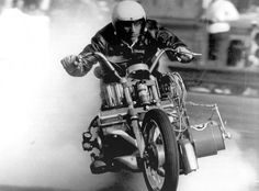 EJ Potter and the Chevy V8 drag bike No. 1.