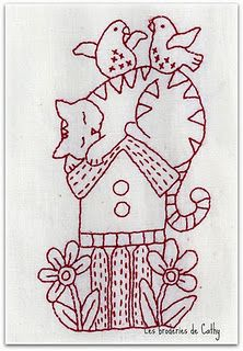 """Catalicious"" by Bronwyn Hayes, in our collection of free redwork patterns"