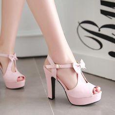Cute Street Style Peep Toe Bow High Heel Sandals $32.99