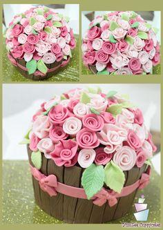 Flower pot Cake..!  For more designs visit :https://www.facebook.com/YumZeeCuppycakes